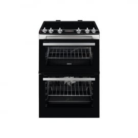 Zanussi ZCV66078XA 60cm Electric Double Oven with Ceramic Hob Stainless Steel Black
