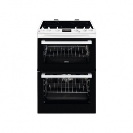 Zanussi ZCV66078XA 60cm Electric Double Oven with Ceramic Hob Stainless Steel White